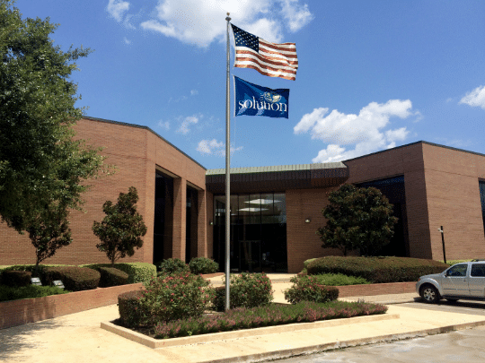 Front of building flags
